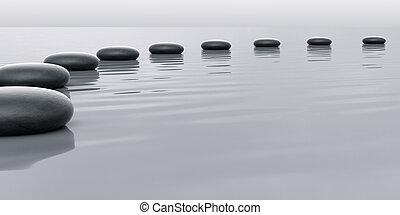 pedras, guiando, fila, horizont