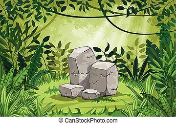 pedras, Ilustração, selva, paisagem