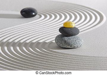 pedras, japão, jardim zen