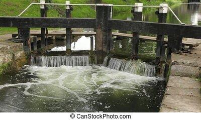 pedras, madeira, calmamente, bom, fluxo, claro, canal, ...