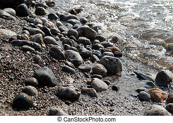 pedras, mar, foam., ondas