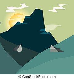 pedras, montanha, natural, sol, céu, paisagem