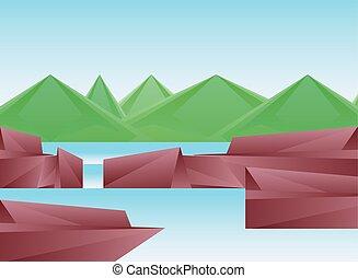 pedras, montanhas, desenho, rio, polygonal, vetorial, paisagem