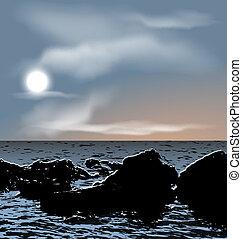 pedras, natureza, anoitecer, fundo, mar, durante