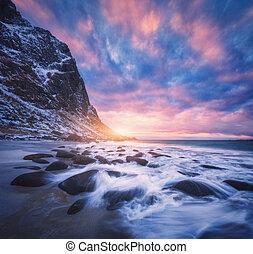 pedras, obscurecido, água, espantoso, praia ocaso, arenoso