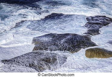 pedras, ondas, oceânicos, bata