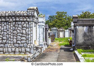 pedras, Orleans, cemitério, histórico, lafayette, Novo,...