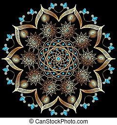 pedras, ornamentos, ouro, ilustração, fundo, precioso, circular