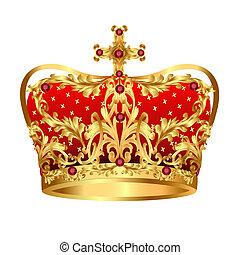 pedras, ouro, coroa real, precioso, vermelho