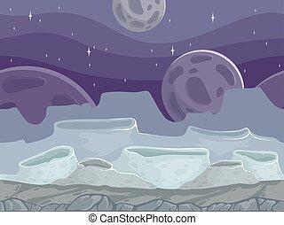 pedras, paisagem., fantástico, ao ar livre, rochoso, seamless, lua, diferente, fundo, caricatura, chão