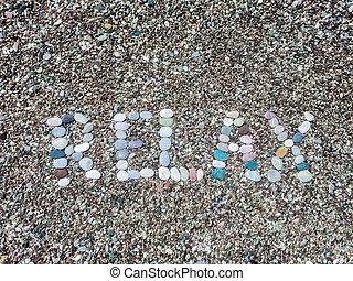 pedras, praia, seixo, palavra, relaxe