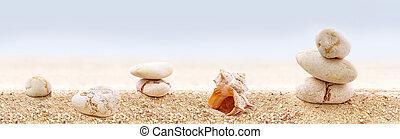 pedras, praia., zen, arenoso