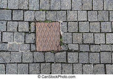 pedras, prato, metal, pavimentar, fundo