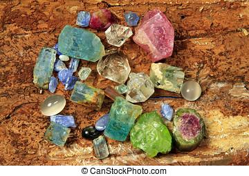 pedras preciosas, semelhante, aquamarine, tourmaline,...