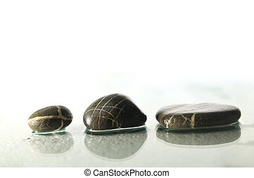 pedras, respingue, zen, isolado, água, molhados, gotas