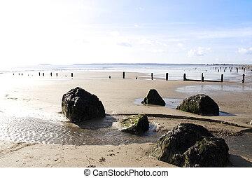 pedras, sobre, sol, praia, interruptores