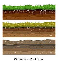 pedras, sujeira, solo, campo, seamless, superfície, grass., vetorial, textura, argila, layers., chão