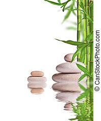 pedras, vida, espaço, texto, livre, spa, brotos, branca, ainda, bambu