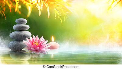 pedras, waterlily, -, água, relaxamento, spa, massagem