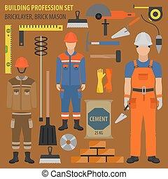 pedreiro, pedreiro, apartamento, set., tijolo, equipment., uniforme, ícone, ocupação, projete profissão, ferramentas