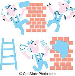 pedreiros, ilustração, fundo, -, cartoon., vetorial, branca