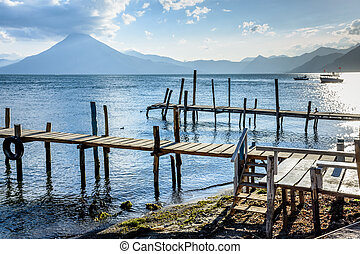 pedro, san, &, lac, guatemala, atitlan, jetties, volcan