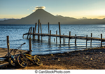 pedro, san, lac, guatemala, atitlan, volcan, coucher soleil