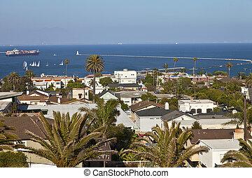 pedro, vizinhança, san, pacífico, ocean., overlookin