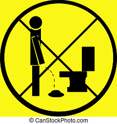 A warning sign, against peeing on the floor, humorous