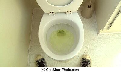 Pee Splatter Flush - Funny POV shot of a man, having just...