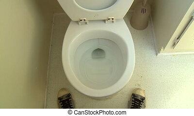 Pee Splatter, Take 1 of 2 - Funny POV shot of a man, having...