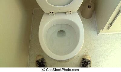 Pee Splatter, Take 2 of 2 - Funny POV shot of a man, having...