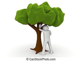 peeing, -, エコロジー, 木, コレクション