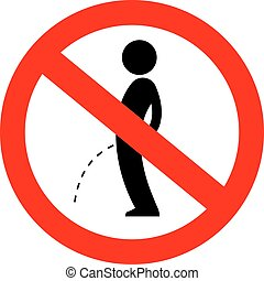 peeing, vecteur, non, signe