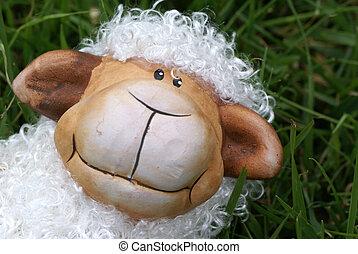 Peek-a-boo. - Curly sheep sitting in grass.