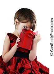 peeking, giftbox, criança