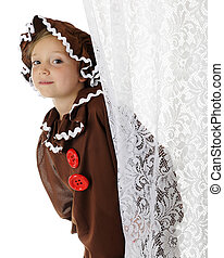 """A cute elementary """"gingerbread girl"""" peeking out from behind a lacey white curtain. On a white background."""