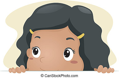 Peeking Kid - Illustration of a Kid Taking a Peek