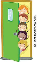 Peeking Kids - Illusstration of Kids Peeking from Behind a ...