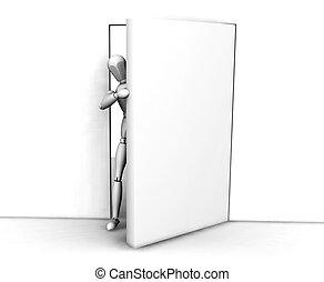 Peeking round the door - 3D render of someone peeking round...