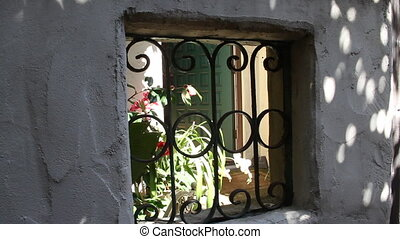 peeking through old window to green door