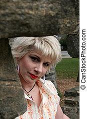 Peeking through rocks