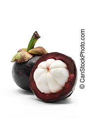 tropical mangosteen fruit on white background (selective focus on front piece)