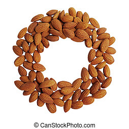 Peeled almonds closeup circle shape background