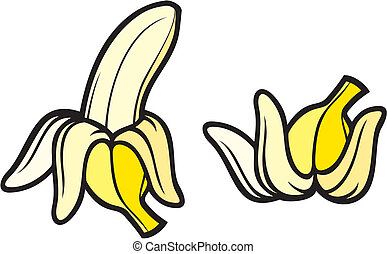 peeled banana and banana peel