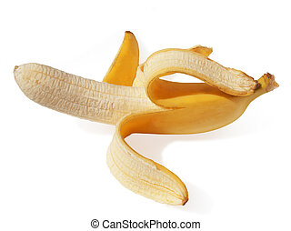 Peeled banana. Delicious ripe tropical fruit
