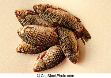 Peeled fish. Crucian carp