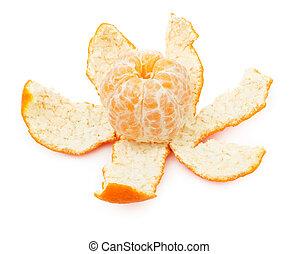 Peeled mandarin fruit isolated on white