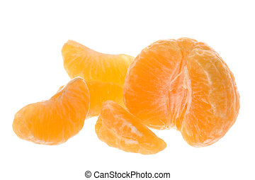 Peeled Mandarin Oranges Isolated - Isolated image of peeled...