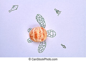 Peeled mandaring half as a turtle's shell.